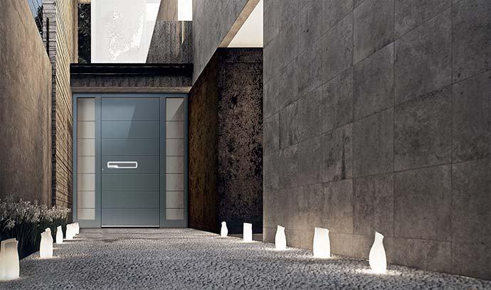 Aluminium Haustür mit Seitenteil nach Maß