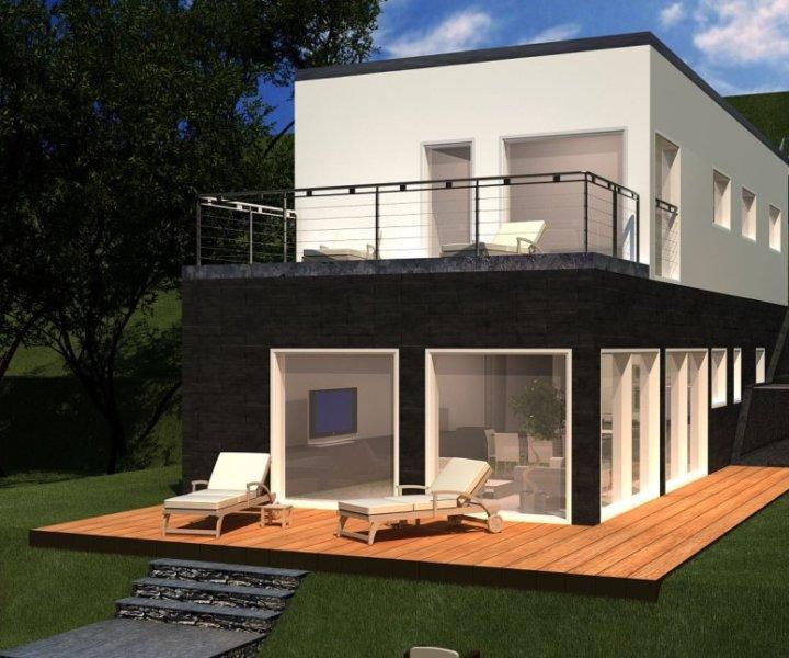 modernes Haus mit Flachdach und viel Glas