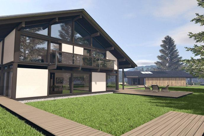 h user mit viel glas und mit glasfront modernes haus und fertighaus. Black Bedroom Furniture Sets. Home Design Ideas