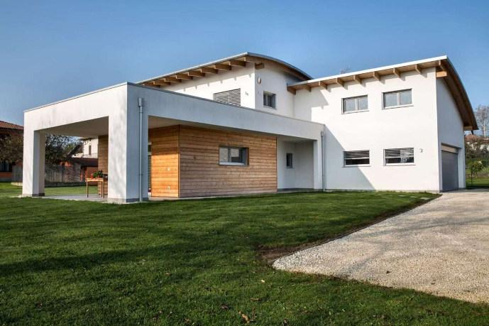 modernes Flachdach Holzhaus Architektur