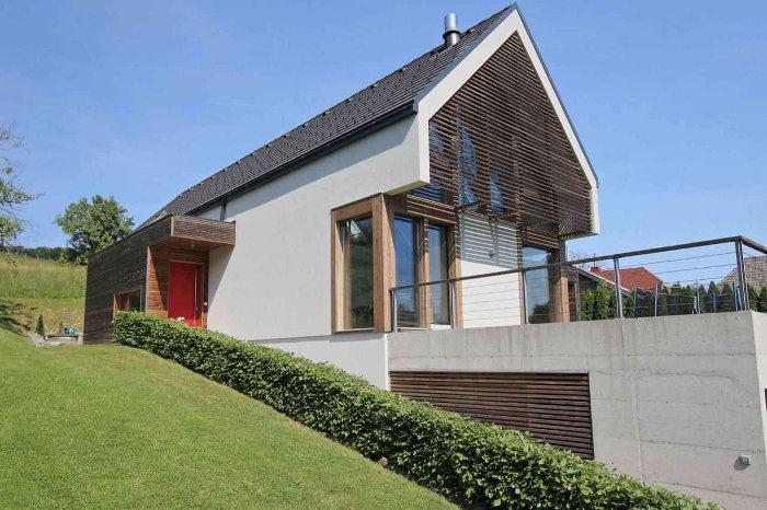 modernes Holzhaus (Holzskelettbau Details)